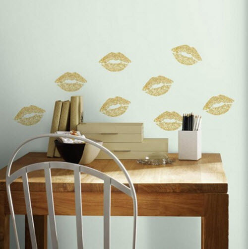 gold lips wall stickers 8 peel & stick glittery decals bedroom love