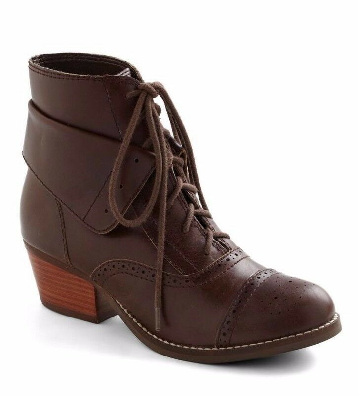 38339af549ee5 Details about SEYCHELLES SHOES DEAREST LACE UP BOOT DARK BROWN LEATHER  BROGUE BOOTIES 7.5 $160