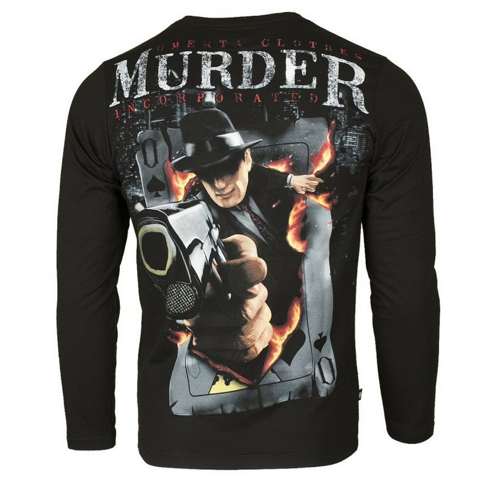 0d91aeb44301c LONG SLEEVE T-SHIRT EXTREME HOBBY OMERTA MURDER INCORPORATED 100% COTTON  BLACK   eBay