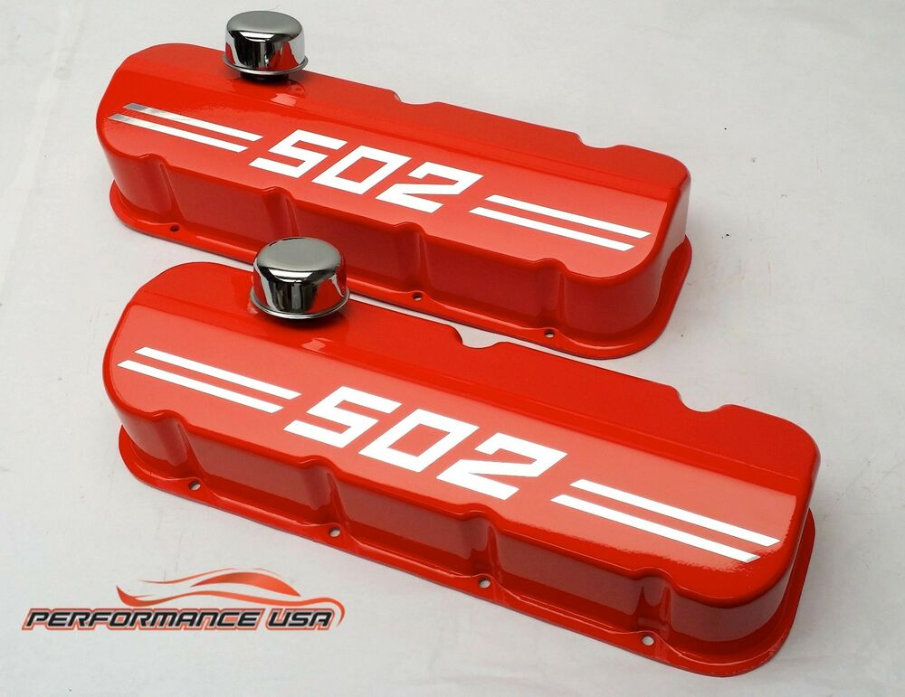 Big Block Chevy 502 Die Cast Aluminum Orange Valve Covers