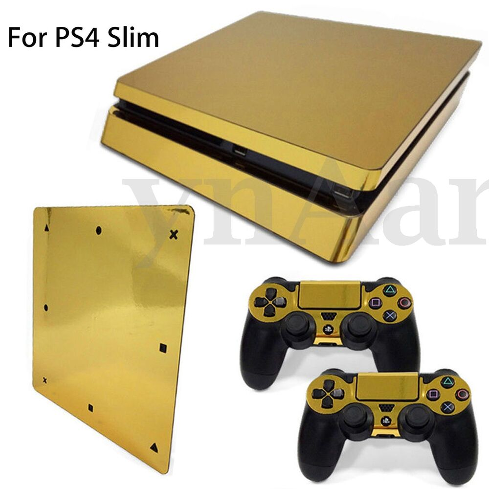 gold glossy sticker decal skin for playstation 4 ps4 slim console 2 controller ebay. Black Bedroom Furniture Sets. Home Design Ideas