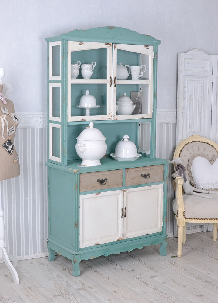 k chenvitrine shabby chic vitrine buffet vitrinenschrank k chenbuffet ebay. Black Bedroom Furniture Sets. Home Design Ideas