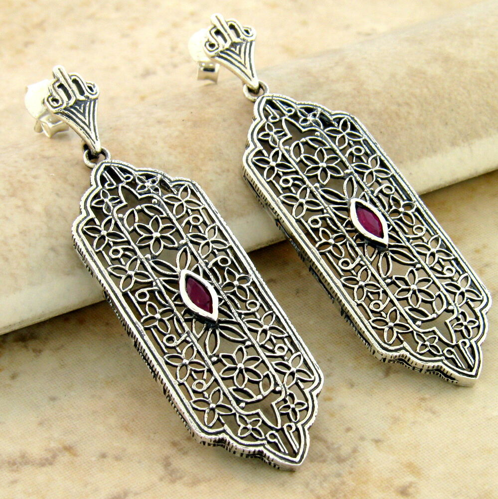 Vintage Style Earrings: GENUINE RUBY 925 STERLING SILVER ANTIQUE STYLE FILIGREE