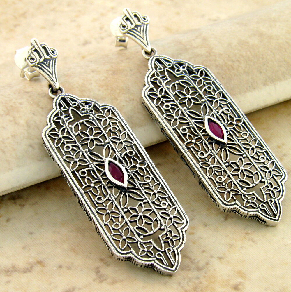 GENUINE RUBY 925 STERLING SILVER ANTIQUE STYLE FILIGREE ...