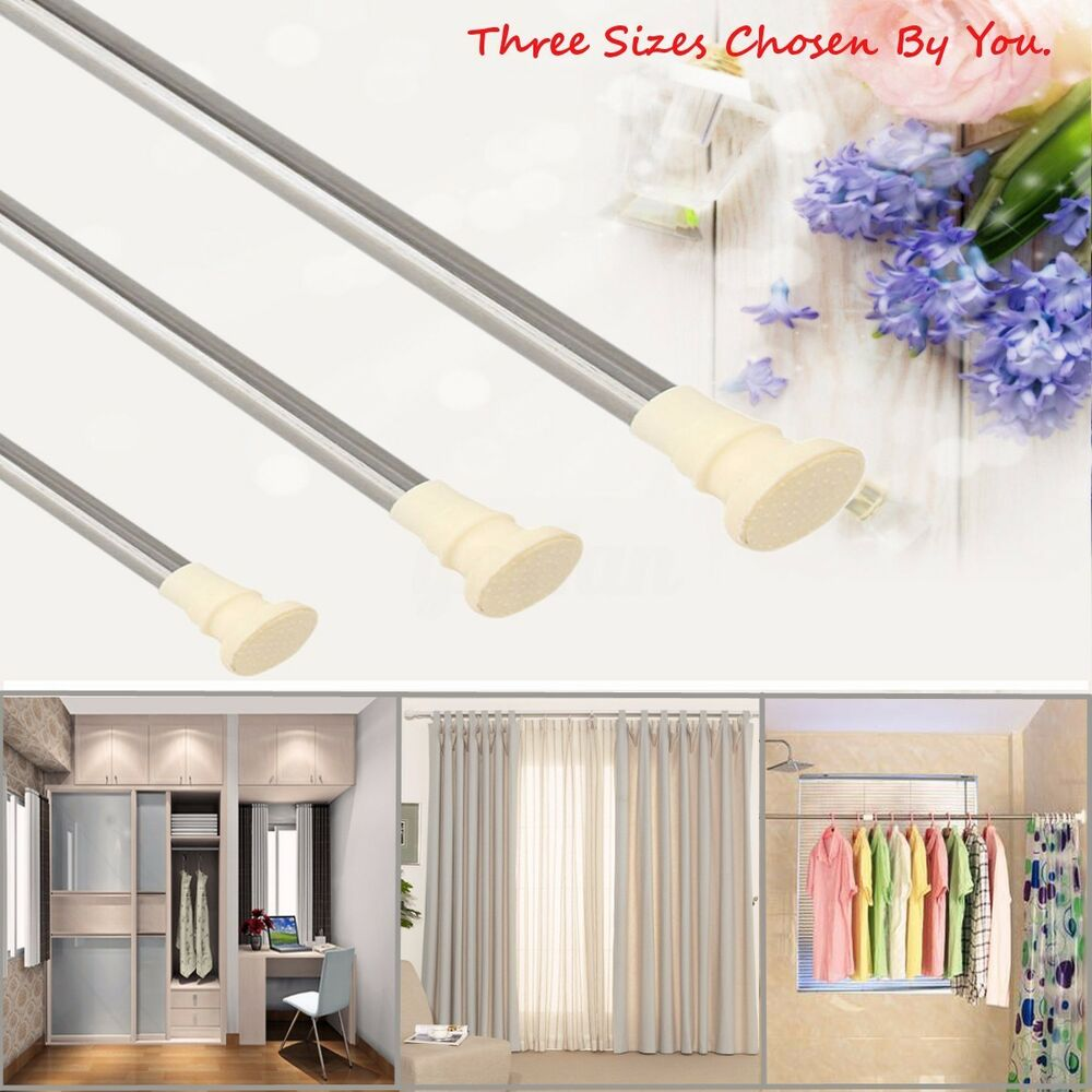Spring loaded extendable net voile tension hanging shower curtain rail - Spring Loaded Extendable Telescopic Net Voile Tension Curtain Rail Pole Rod Rods Ebay