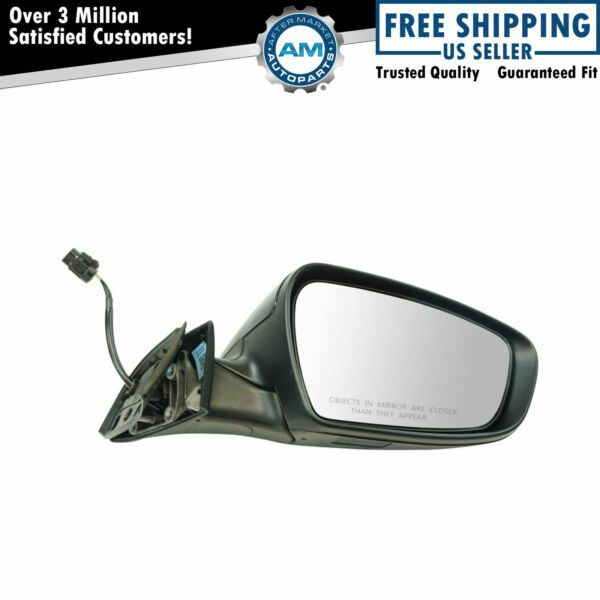 Exterior Power Heated Mirror Black Smooth RH Passenger Side for Kia Forte