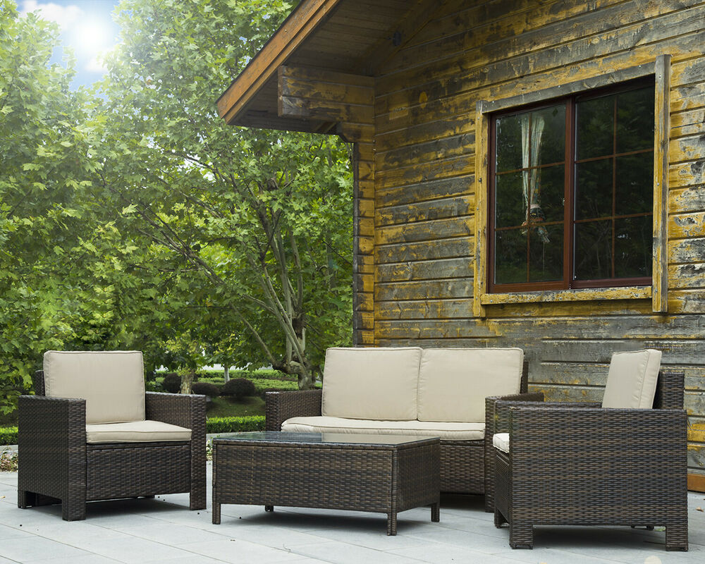 4pc pe rattan wicker sofa set cushion outdoor patio sofa couch furniture ebay. Black Bedroom Furniture Sets. Home Design Ideas