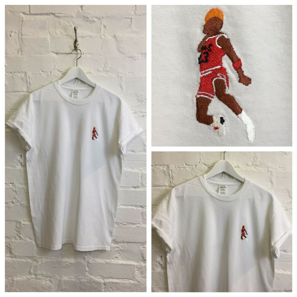 93a01df34d64dc Details about Actual Fact Jordan Slam Dunk Embroidered Basketball Supreme  White Tee T-Shirt