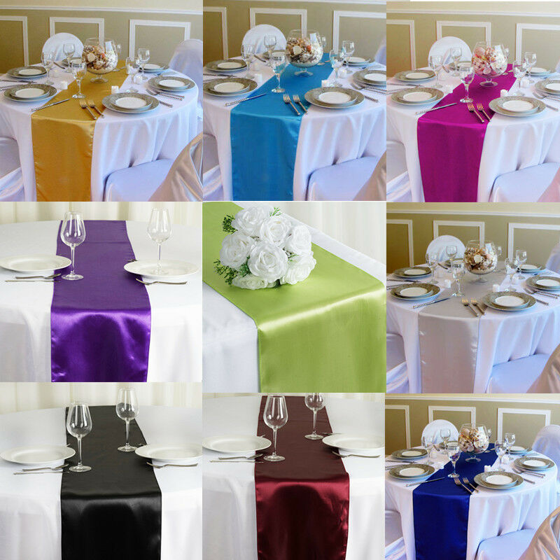 Details About 12 X 108 Satin Table Runner Wedding Party Decorations Banquet Runners