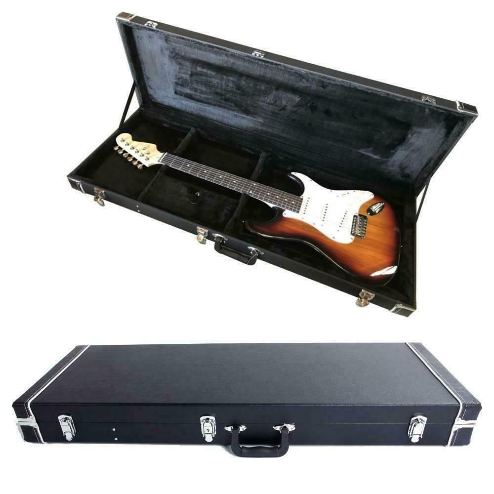 new protable electric guitar square hard case w silver hardware and lock ebay. Black Bedroom Furniture Sets. Home Design Ideas