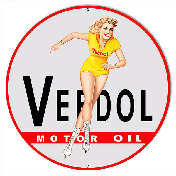Large Veedol Pin Up Girl Motor Oil Reproduction Metal Sign