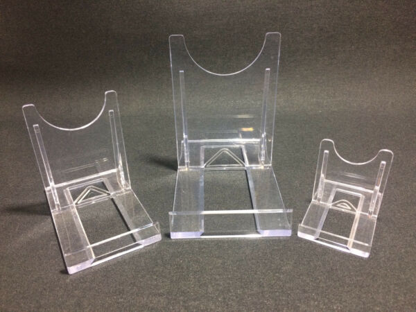 Adjustable DISPLAY STANDS Clear Twist Plastic (3 Sizes) Plates Cards Slices Dvds