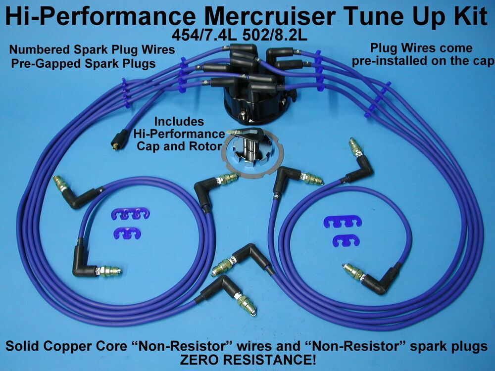 TUNE UP MERCRUISER CHEVY 454 7.4 502 8.2 SPARK PLUG WIRES ...