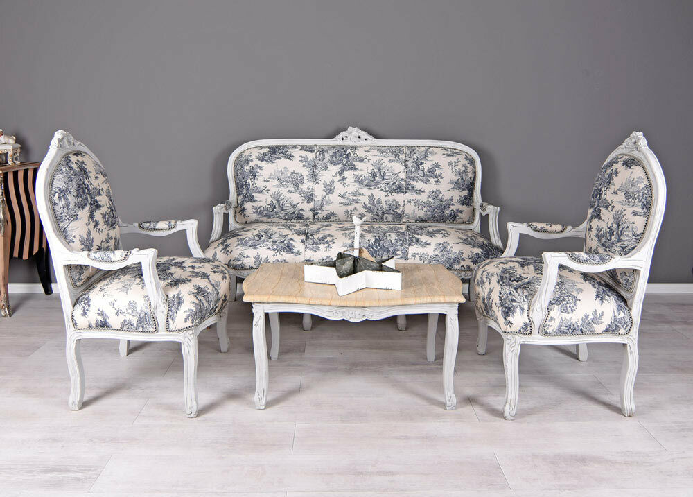 salon garnitur sitzgruppe toile de jouy sofa sessel shabby chic sofagarnitur ebay. Black Bedroom Furniture Sets. Home Design Ideas