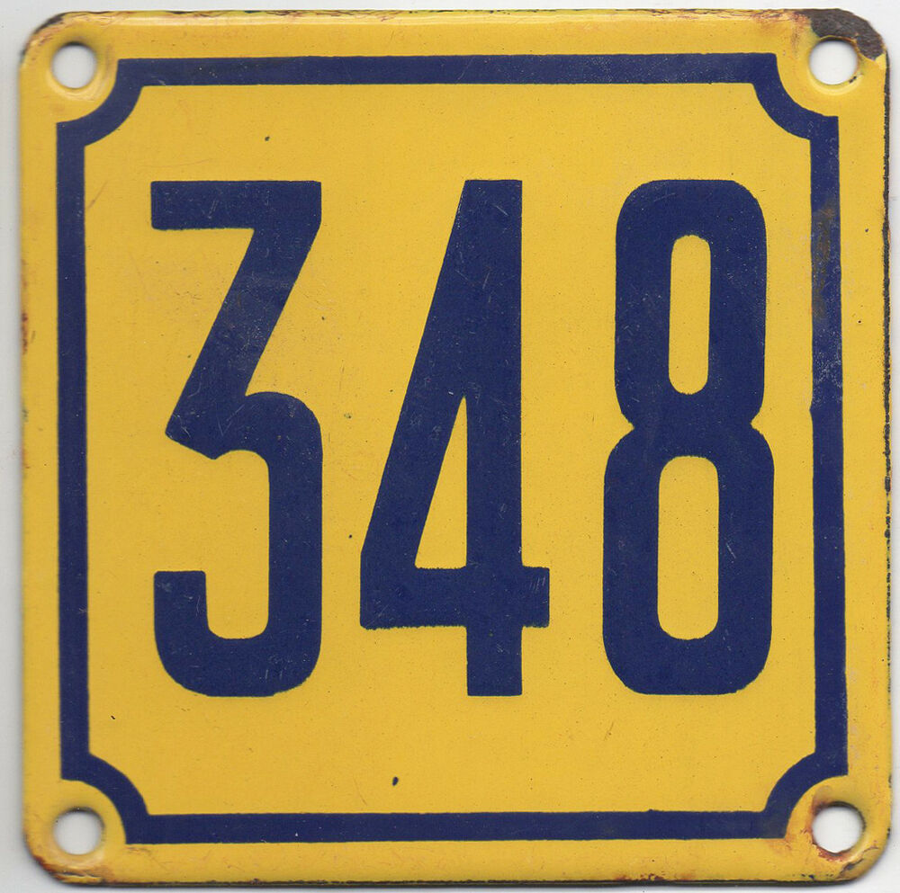 Old French house number 348 door gate wall plate plaque enamel steel ...