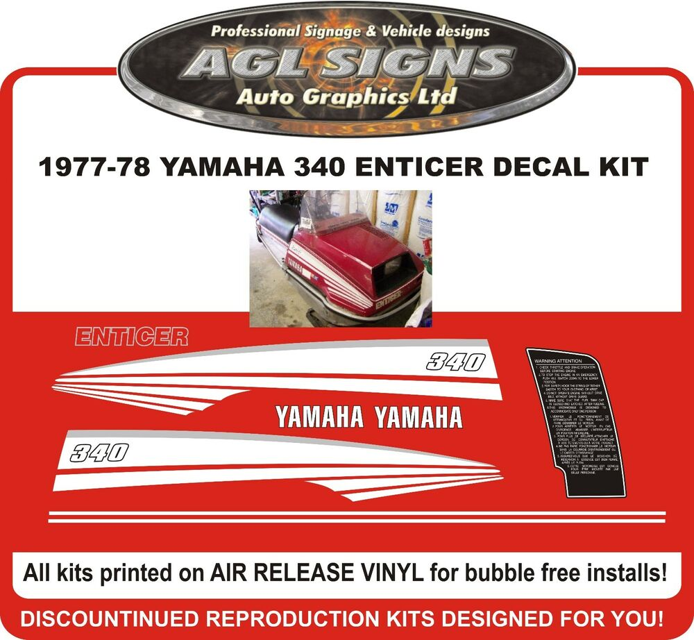 1977 1978 yamaha enticer 340 snowmobile decal kit reproductions graphics ebay. Black Bedroom Furniture Sets. Home Design Ideas