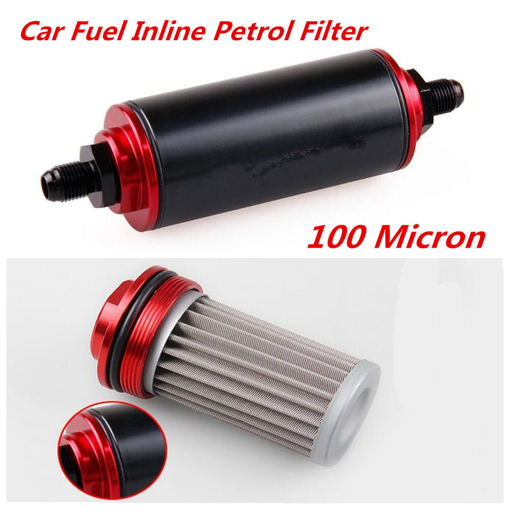 An10 100 Micron Aluminum High Flow Fuel Inline Petrol Filter For Car Auto Truck 6830517950352