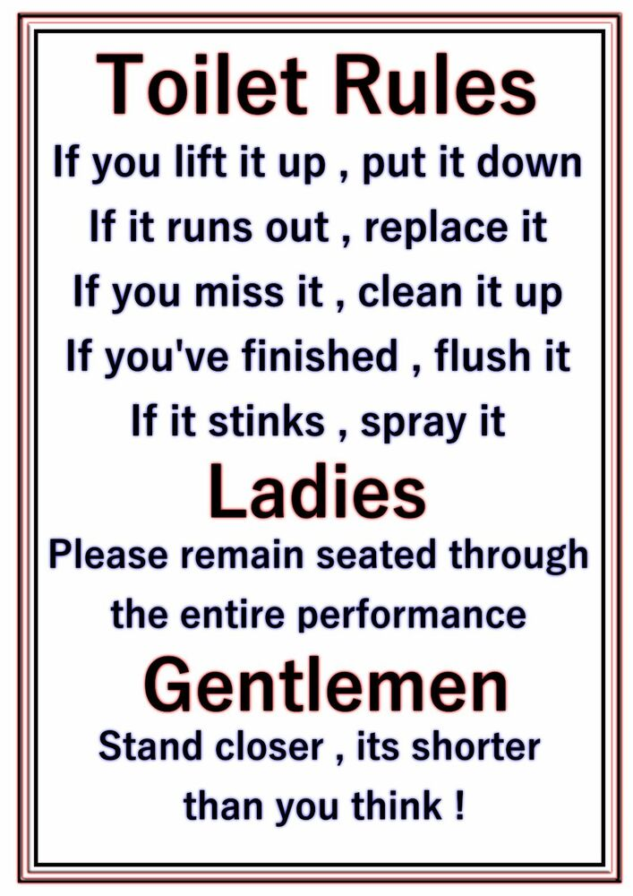 A4 Poster Sign Bathroom Joke Novelty Funny Toilet Rules | eBay