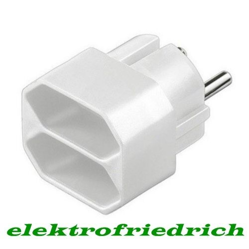 2fach steckdosen adapter f r 2 euro stecker flach neu zweifach verteiler ebay. Black Bedroom Furniture Sets. Home Design Ideas