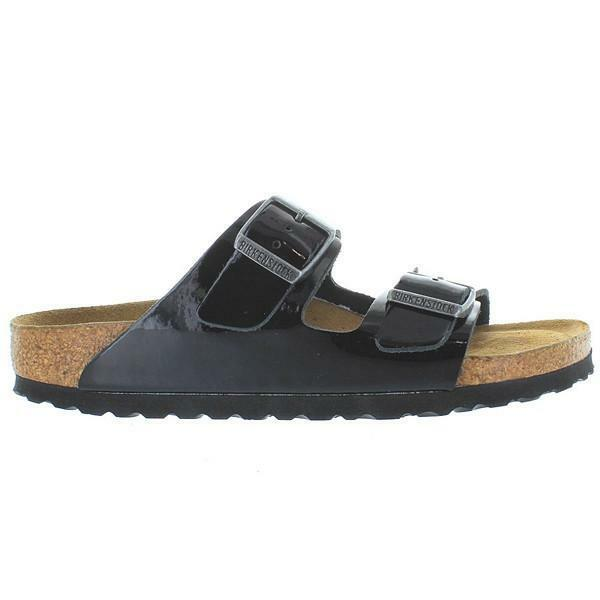 1b29a9198 Details about Birkenstock Arizona Women's Black Patent Dual Buckle Slip-On  Footbed Sandal 8.5