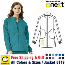 Wonder Wink NEXT Boston Zipper Front Warm Up Top Medical Scrubs Jacket Lab Coat