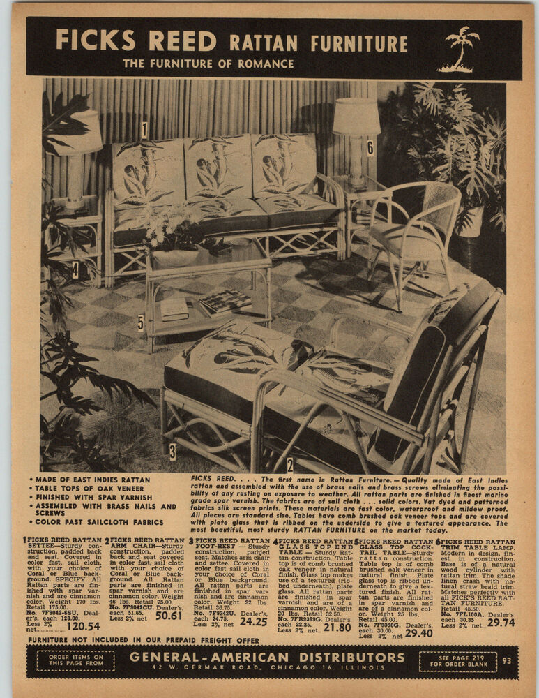 1951 PAPER AD Ficks Reed Rattan Patio Furniture Settee Table Reed   EBay