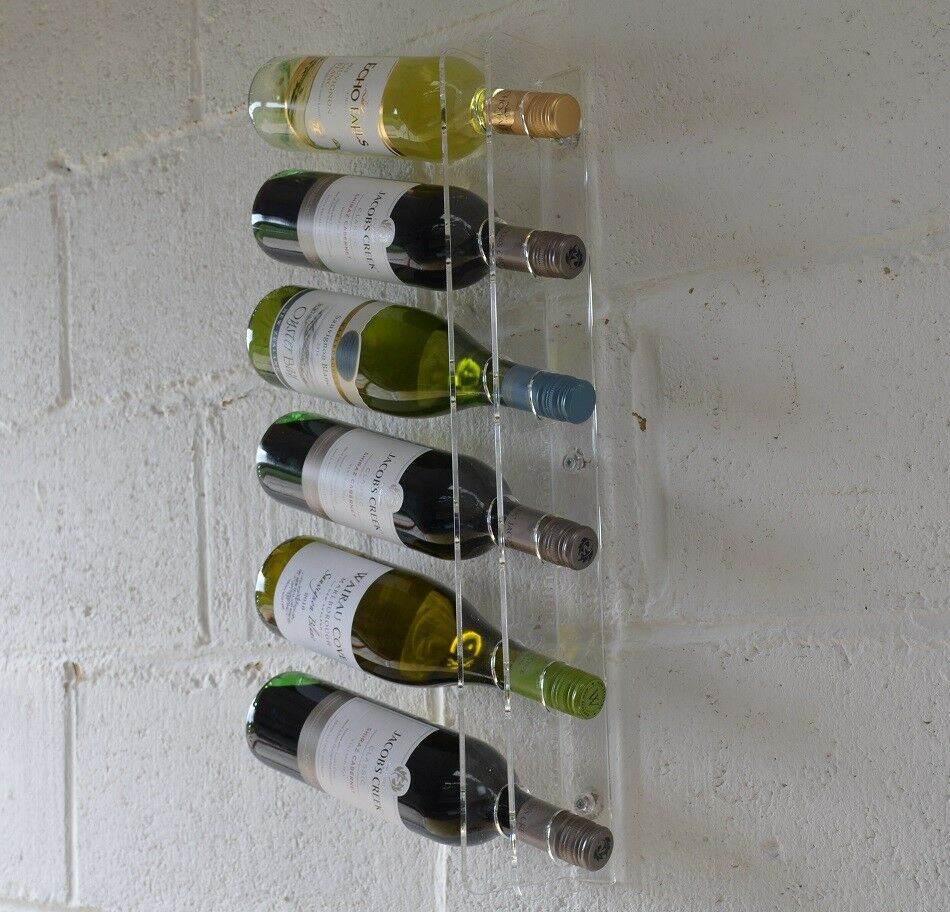 Wine Bottle Holder Rack Clear Perspex Display Wall Mounted