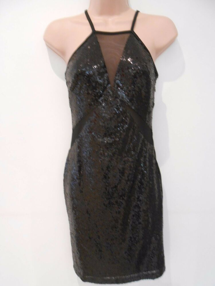 42dfdd3f0bd70 Details about Club L Black Backless Sequin Short Midi Cami Dress  (NEW)Sizes  8