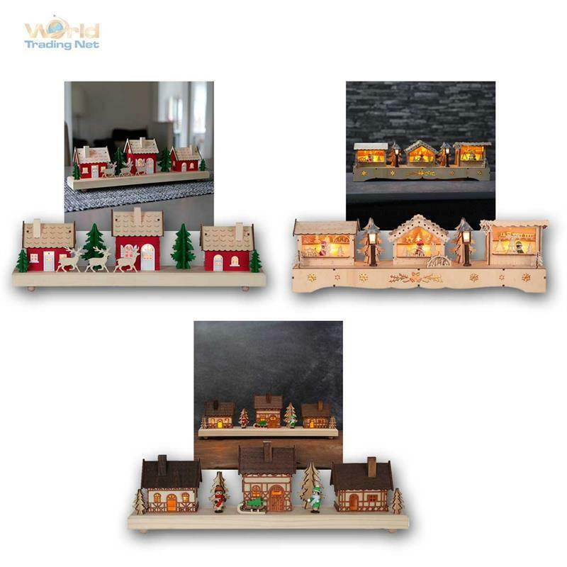 weihnachtshaus weihnachtsdorf mit led beleuchtung timer batteriebetrieb deko ebay. Black Bedroom Furniture Sets. Home Design Ideas