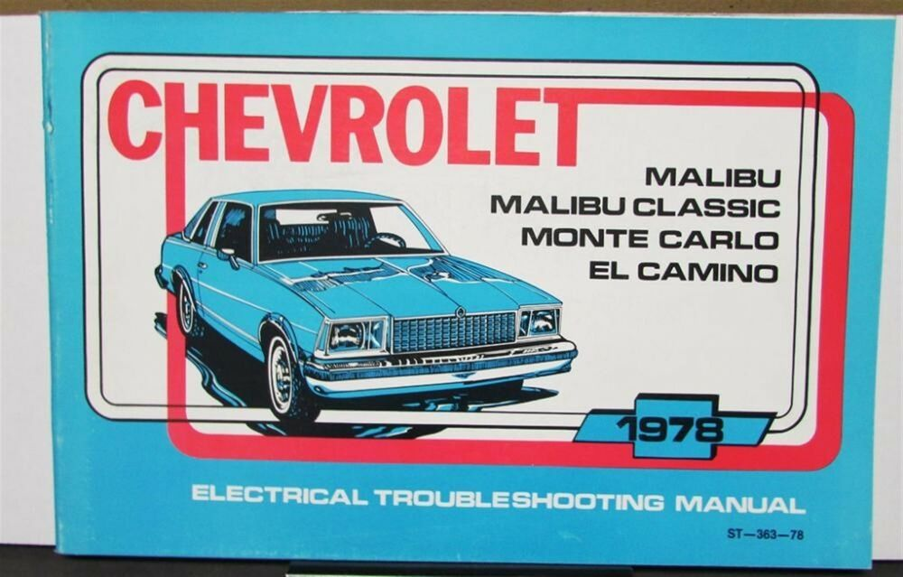 details about 1978 chevrolet electrical wiring diagram service manual malibu  monte carlo