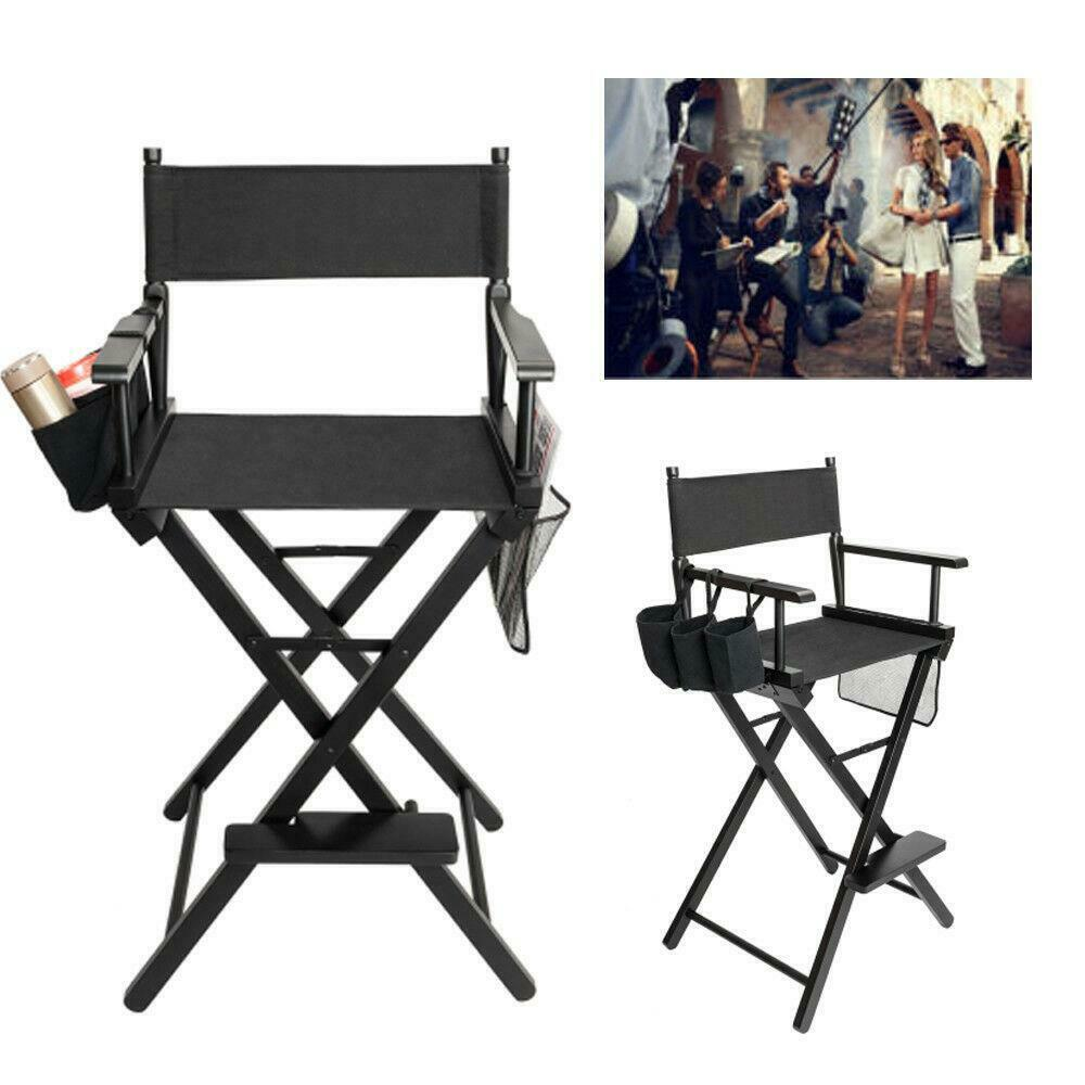 Directors Chair Canvas Tall Seat Black Wood Folding Hair