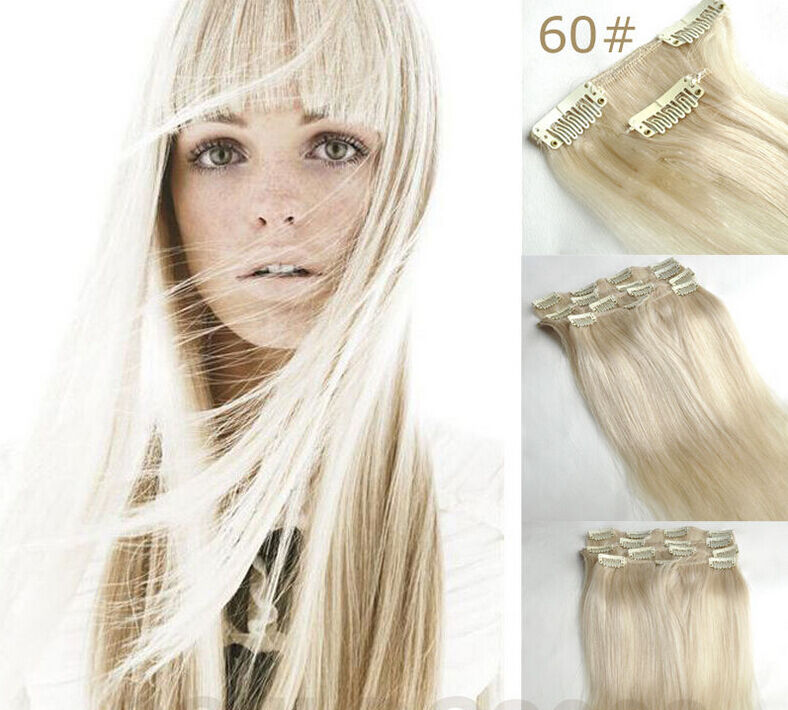 15 24 100 Clip In Real Human Hair Extensions Platinum Blonde 60