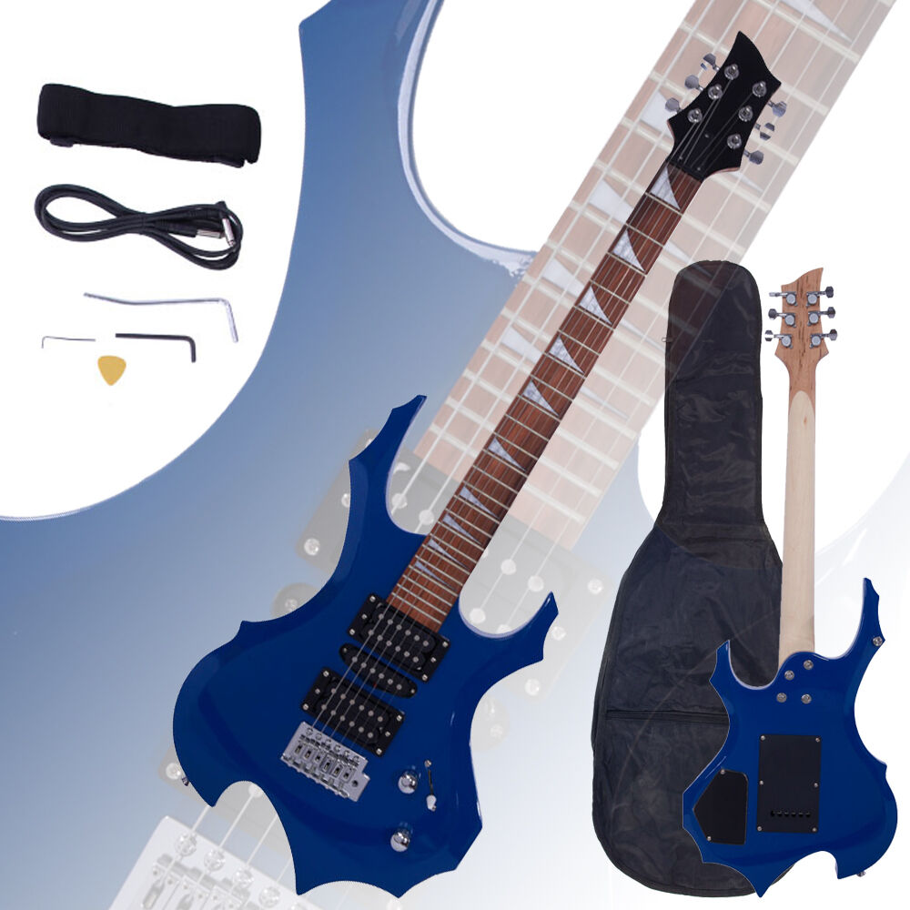 new flame type electric guitar blue gigbag strap cord pick tremolo bar ebay. Black Bedroom Furniture Sets. Home Design Ideas