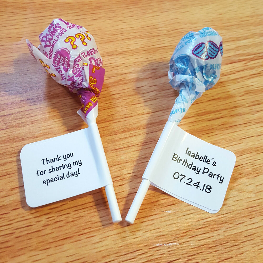 Details about 60 personalized birthday party lollipop candy wrappers favor labels stickers
