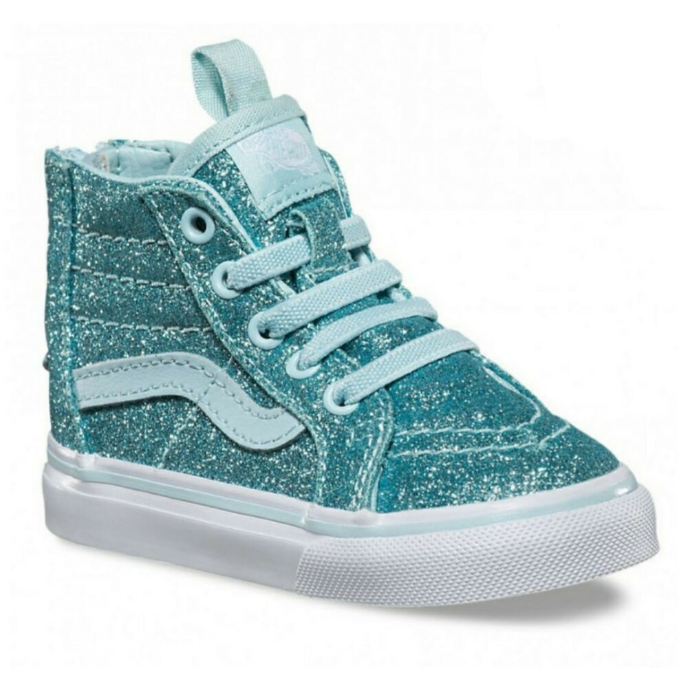 05707276f25 Details about VANS SK8-HI ZIP SHIMMER BLUE SKATER SHOES KIDS VN0A32R3LSK  GLITTER SZ 5 toddler