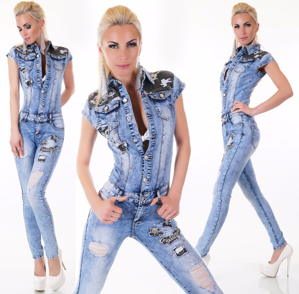 Sexy Womens Denim Jumpsuit stretch Overalls skinny Jeans ... - photo#49