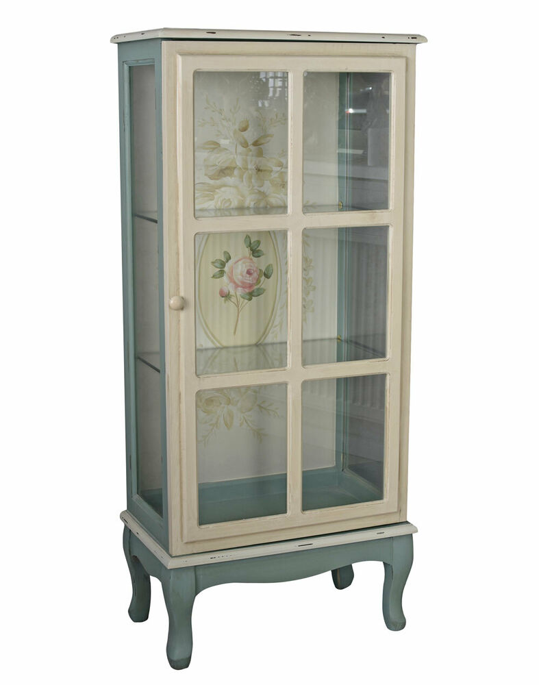shabby chic vitrinenschrank glasvitrine blumen regal antik stil schrank glas neu ebay. Black Bedroom Furniture Sets. Home Design Ideas