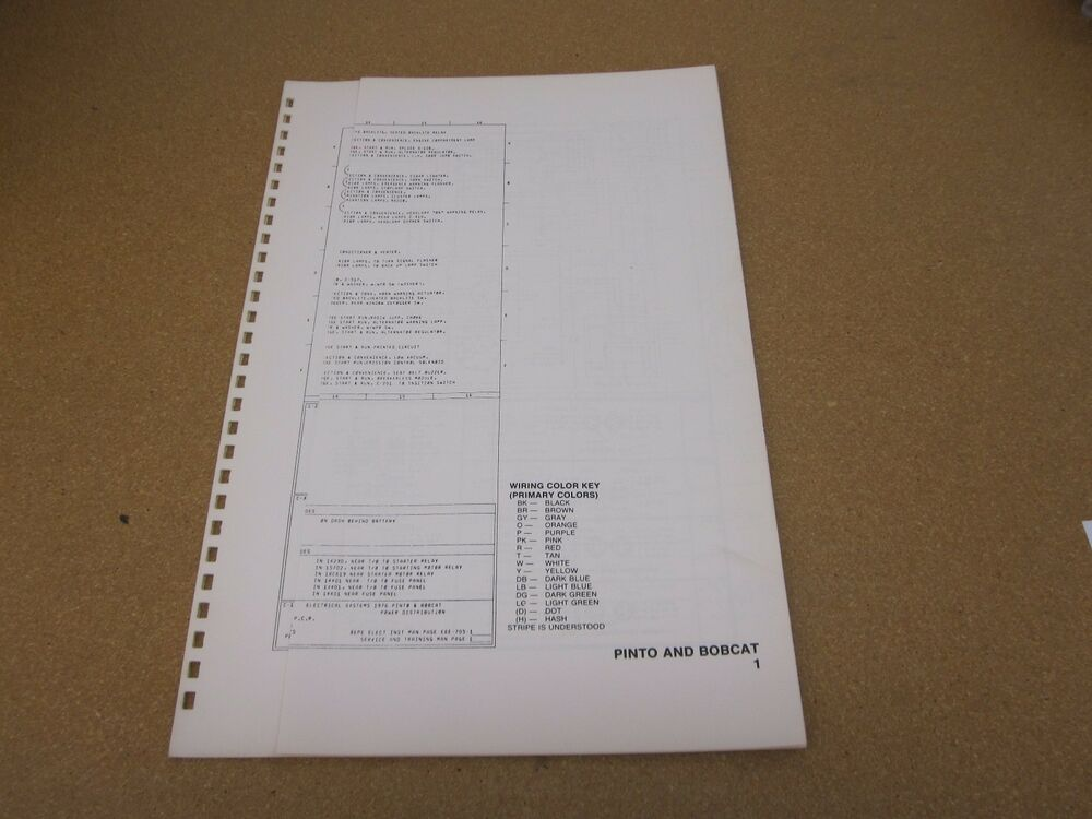 Original 1976 Ford Pinto Bobcat Wiring Diagram Sheet