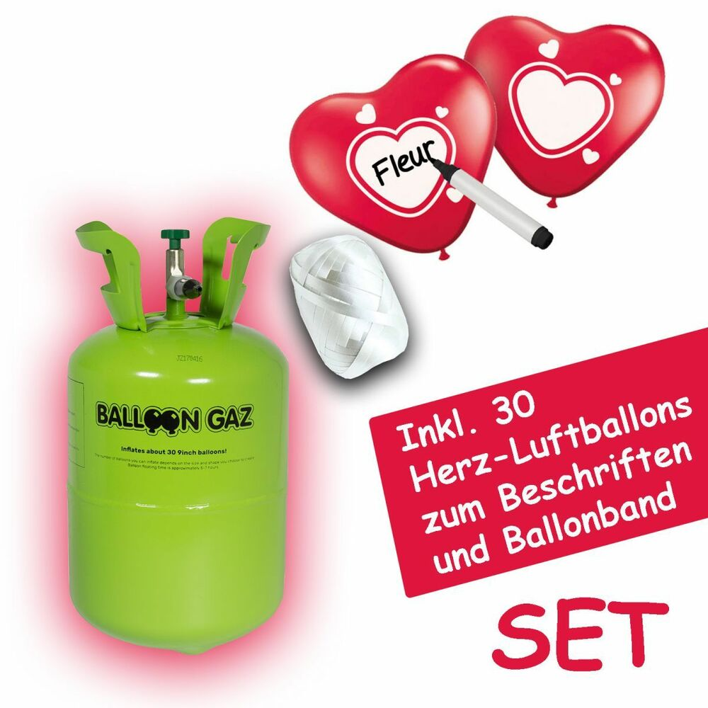 helium ballongas flasche set inkl 30 herz luftballons zum beschriften hochzeit ebay. Black Bedroom Furniture Sets. Home Design Ideas
