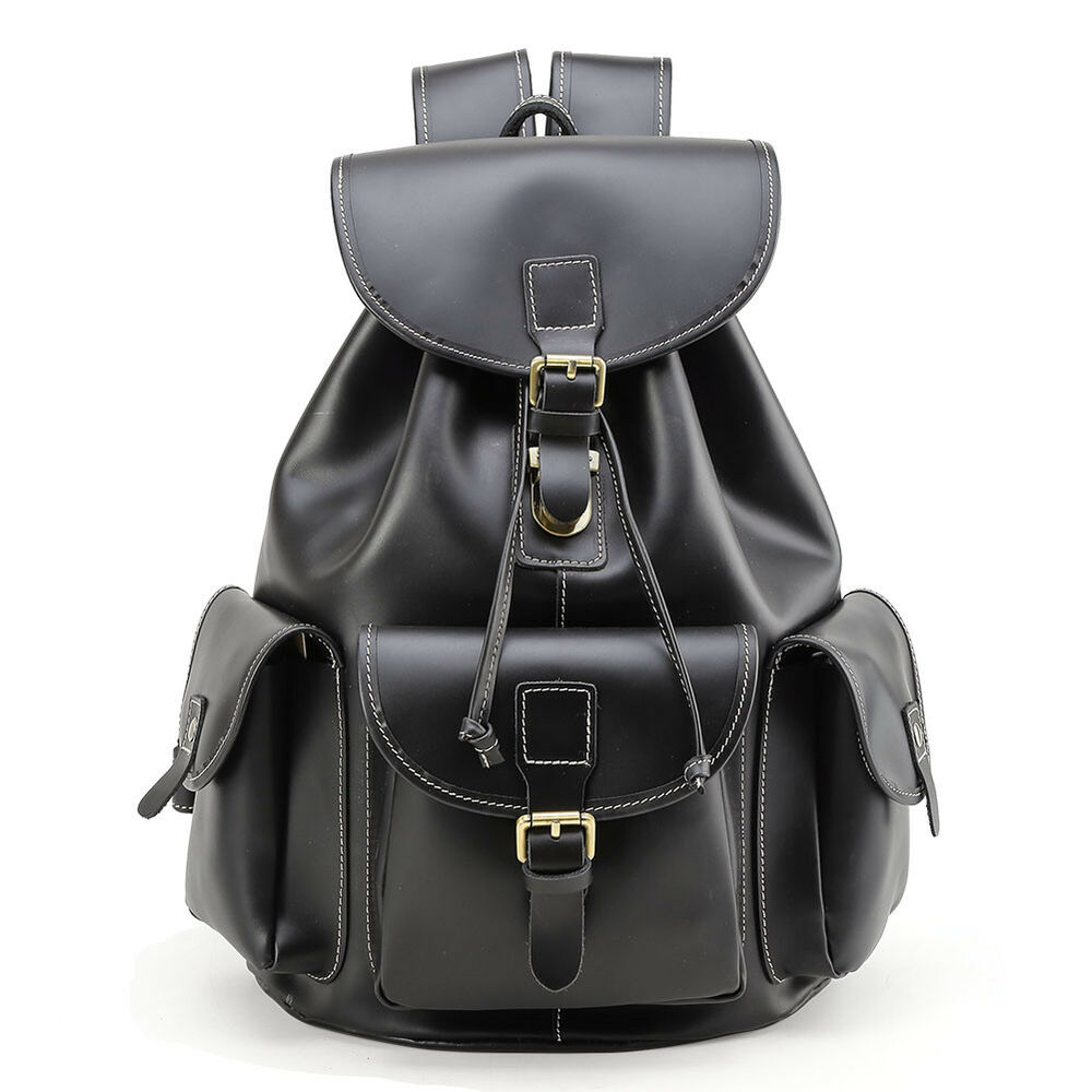 d99715faa1 Details about Black Genuine Leather Backpack 15.6