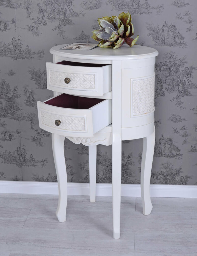 Retro Style Container Bedside Table: Vintage Bedside Table White Nightstand Shabby Chic Night