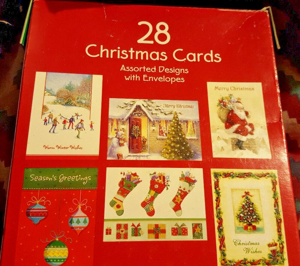 28 Nw Christmas Cards Assorted Designs W Envelopes Cute Sayings By