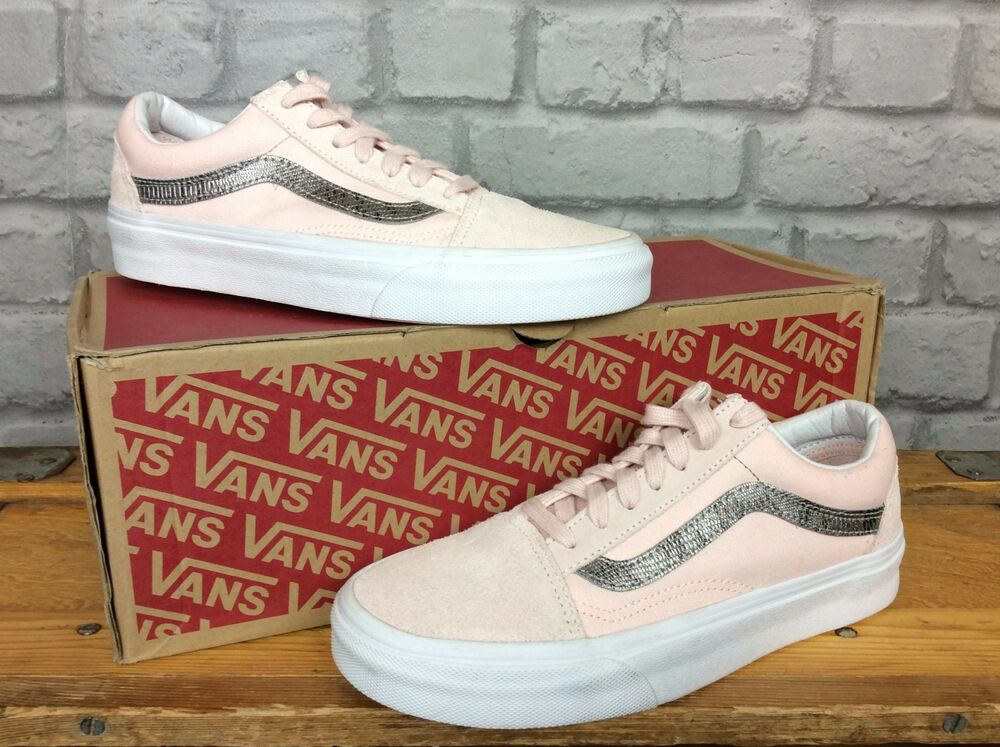 a87401e5ef2 Details about VANS LADIES UK 3 EU 35 PINK SILVER SUEDE OLD SKOOL TRAINERS