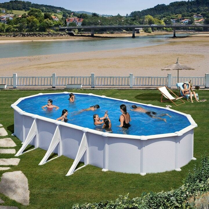 pool oval becken 7 3 x 3 7x1 2m weiss stahlwand komplettset schwimmbad ebay. Black Bedroom Furniture Sets. Home Design Ideas