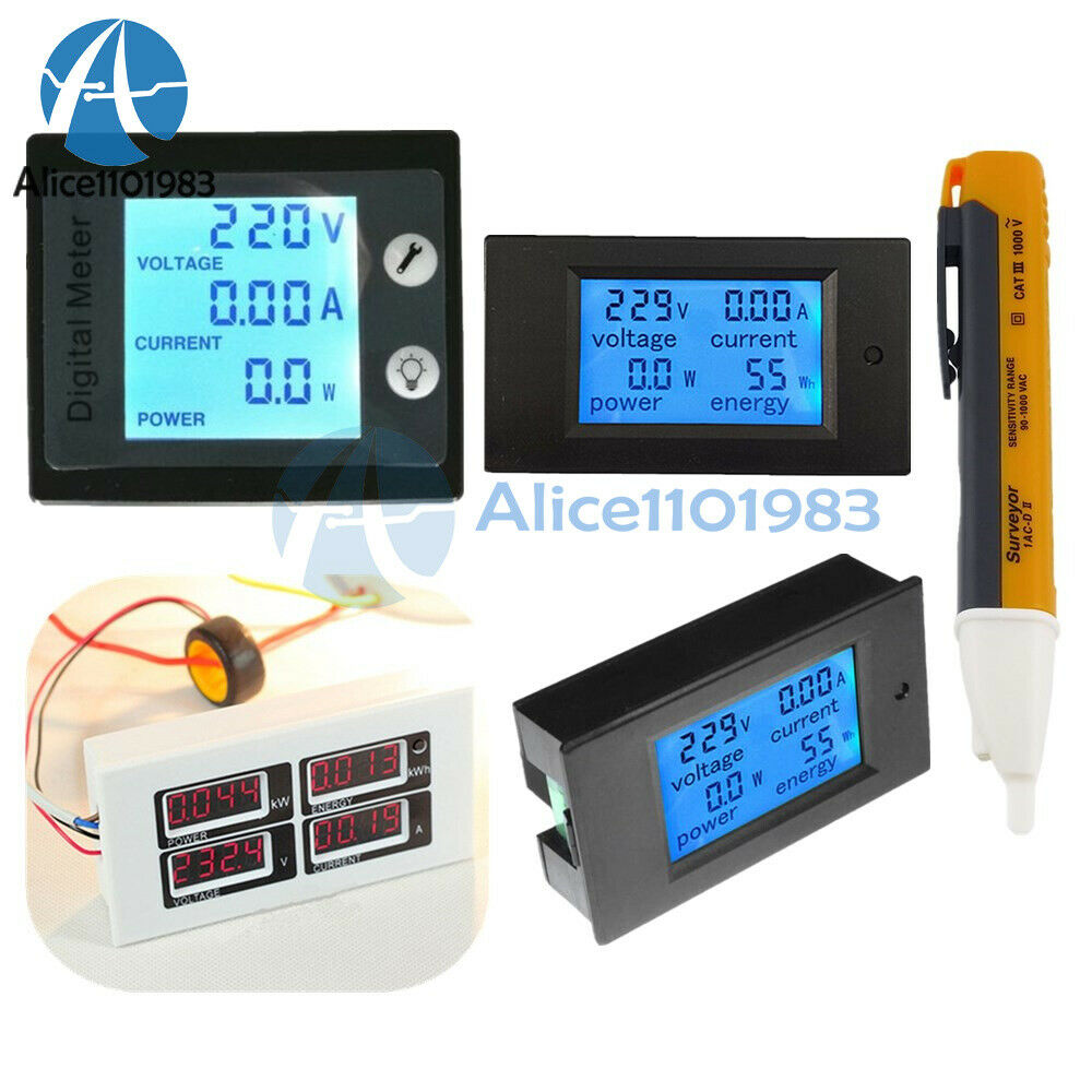 ac 80 260v 0 100a lcd volt current watt kwh meter power energy ammeter voltmeter ebay. Black Bedroom Furniture Sets. Home Design Ideas