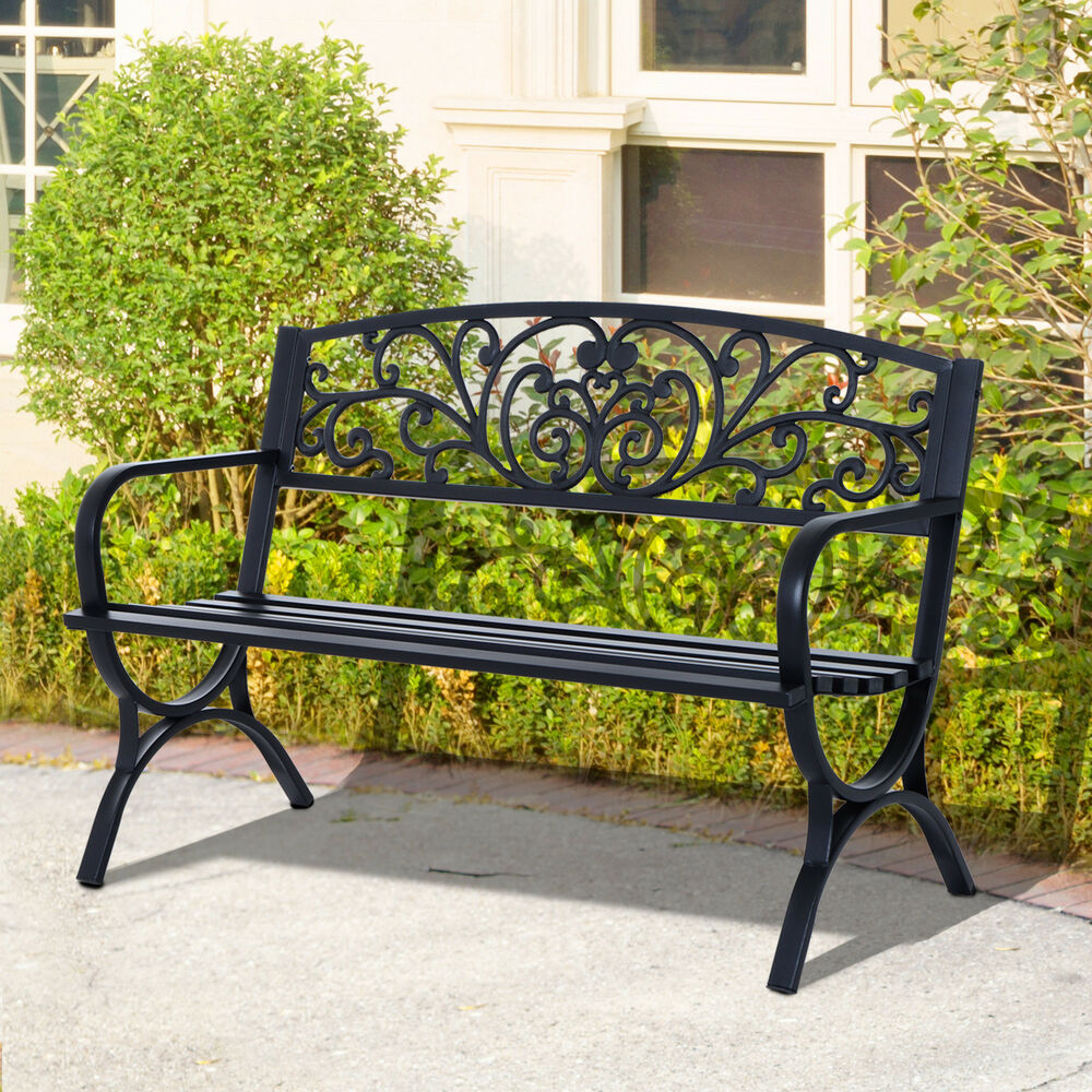 gartenbank sitzbank blumenbank metall gartenm bel 2 sitzer schwarz ebay. Black Bedroom Furniture Sets. Home Design Ideas