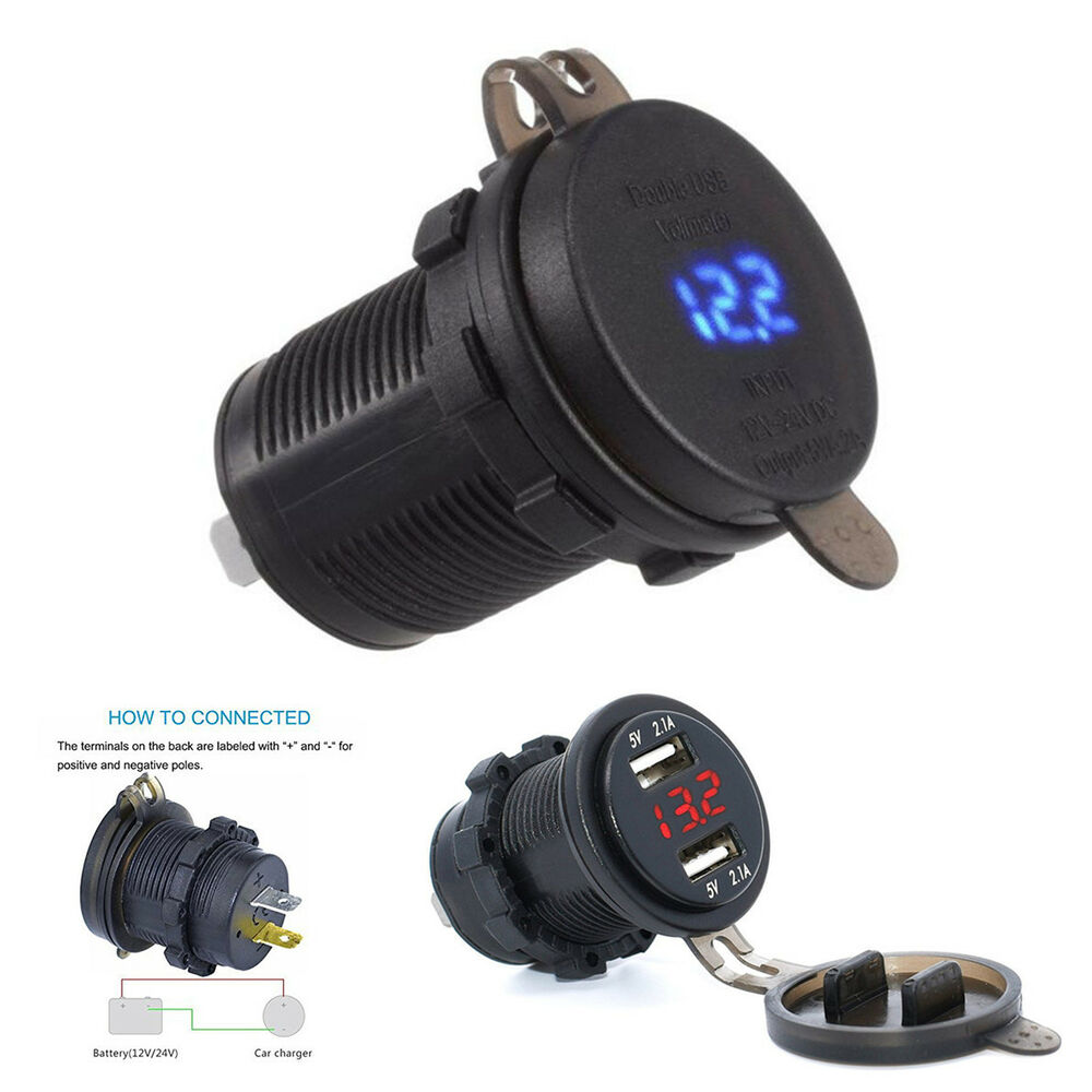 Portable Car Motorcycle 12v 42a 2 Usb Charger Socket Blue Led Light Low Power Bike Voltmeter 6840544433094 Ebay
