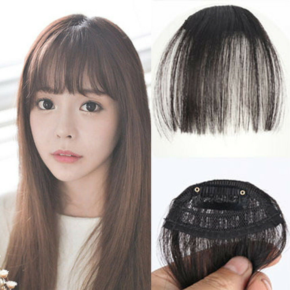 Girls Air Bangs Real Human Hair Extension Clip In Fringe Front