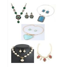 New Lot Of 5 Mix Fashion Jewelry Necklaces, Earrings, Lot Usa Seller