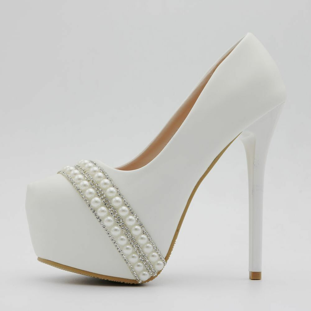 aadfc2dab Details about Womens Pearl White Round Toe Wedding Bride High Heels Party  Shoes Pumps Platform